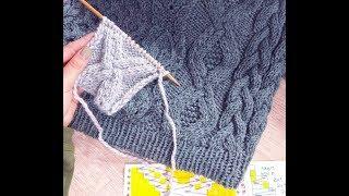 Как вязать узор с большим ромбом спицами, видеоурок / Александра Краснобаева