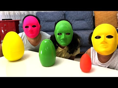 Colorful toy masks pretend play fun kid video