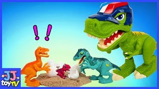 Protect Dinosaur Eggs. Giant Dinosaur Vs  Thief Velociraptor. Dinosaur Toy For Kids [Jjtoy Tv]