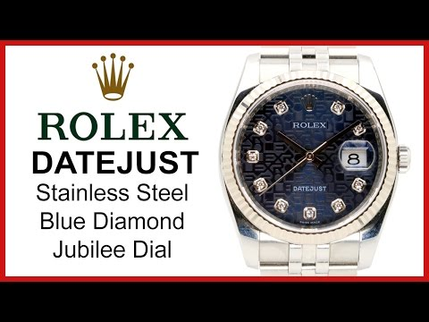 a90848bf35b Rolex Datejust Diamond, Blue Jubilee REVIEW - 36mm, Fluted White Gold  Bezel, Stainless Steel, 116234 - YouTube