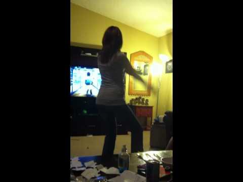 Rachel (Naked Fluffy Bunny) Playing Kinect Adventures on Xbox 360