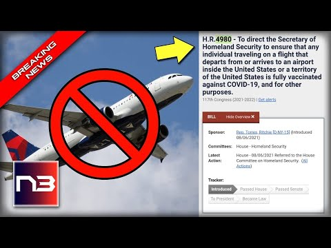 IT BEGINS: Only the Vaxxed Will be permitted to Fly Domestically - Media SILENT as Bill Introduced