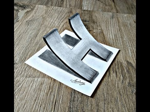 """Very Easy - How To Draw 3D Curved Letter """"H"""" - 3D Trick Art On Paper - Art Maker Akshay"""