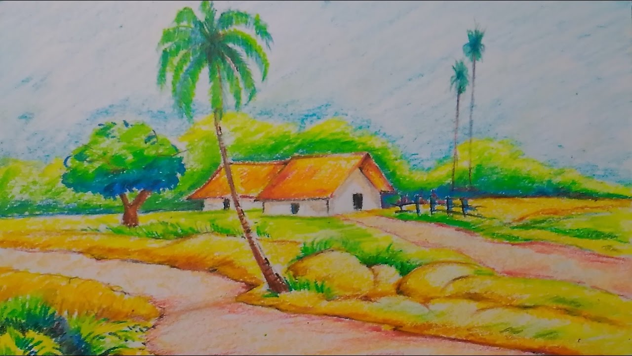 Village nature scenery drawing easy tutorial for kids