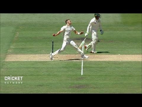 Warner caught on 99 ... but  England rookie oversteps