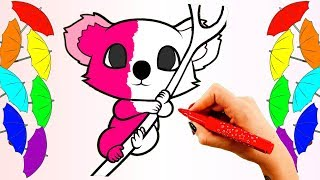 Koala Coloring Pages. Learn Colors for Kids with Colored Markers. Fun and Creative Video for Babies