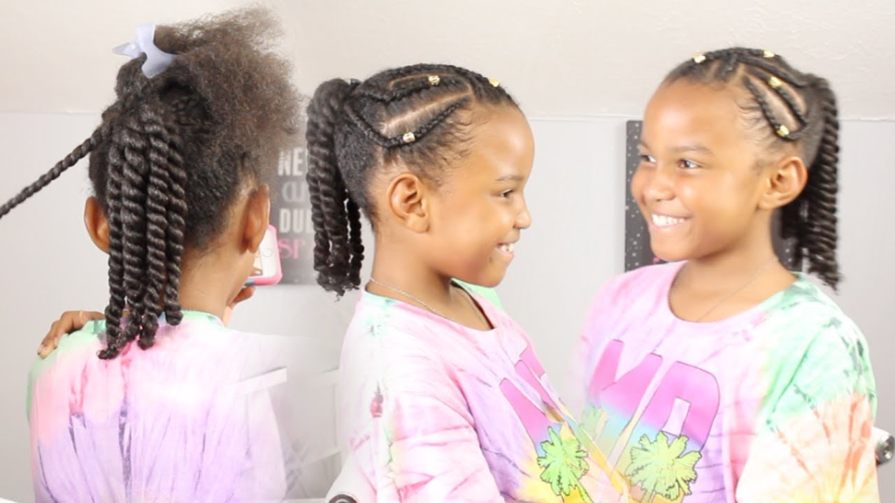 criss cross braids   two strand twists ▸ natural hairstyles for girls