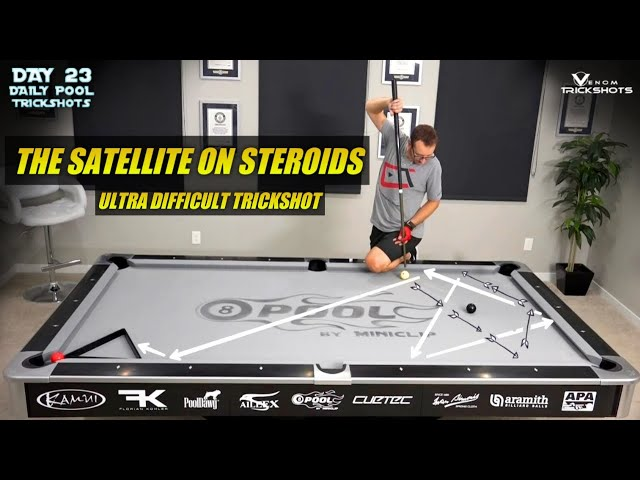DAILY Pool Trick Shot - DAY 23 - The Satellite On Steroids (ULTRA DIFFICULT!!!) - Venom Trickshots