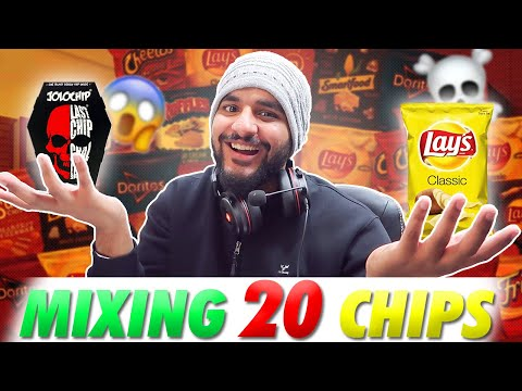 MIXING 20 CHIPS CHALLENGE !!!!! WITH THE HOTTEST JOLO CHIP😱🥶