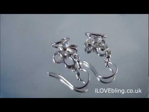 Earring 925 silver flower bling UK Wholesale Supplier