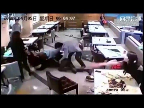 Caught On Tape: Craziest Restaurant Fight (China News)