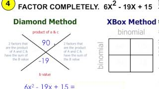 factoring trinomials ax 2 bx c using diamond xbox method