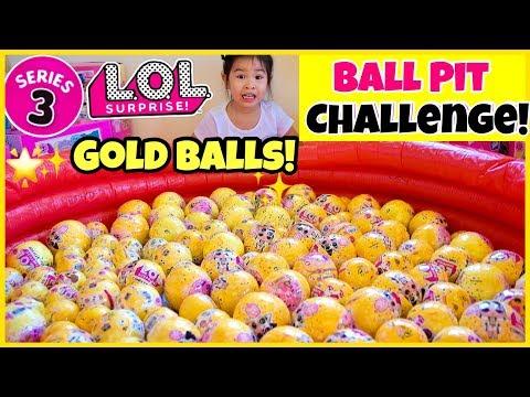 LOL Surprise Series 3 WAVE 2 BALL PIT CHALLENGE!! GOLD Balls FOUND!!