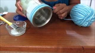 Como fazer porta treco de lata decorada bem simples por Sandra Luz