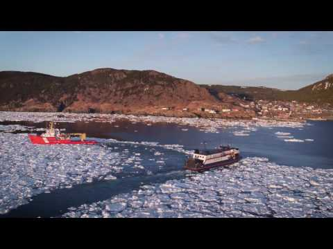 Icebreaker beats path through ice for Bell Island ferry