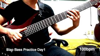 Slap Bass Basc Practice Day 1 - 100bpm