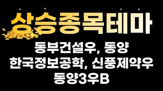 [ 주식 상한가 종목 테마 ] 동부건설우, 동양, 한국…