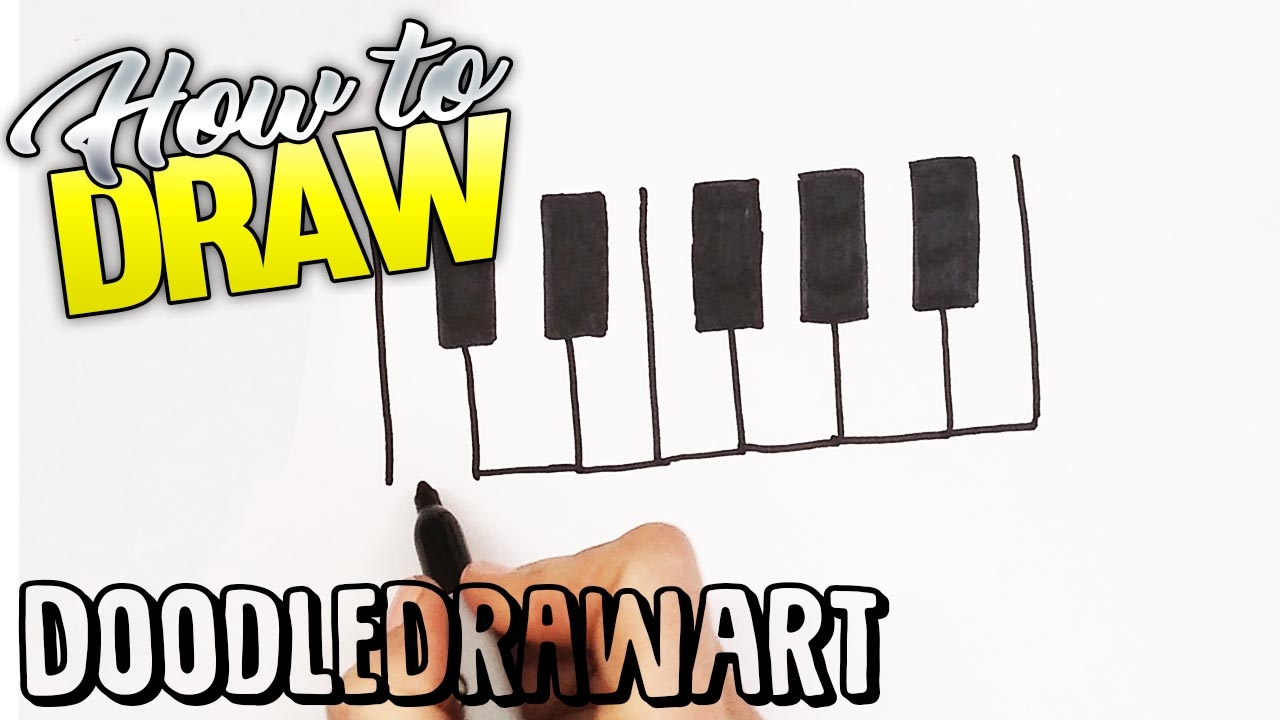 How To Draw A Piano Keyboard Quick Draw Step By Step Drawing