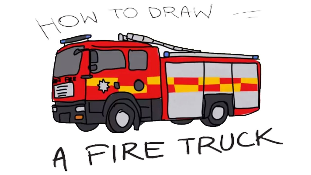 how to draw a fire truck for kids art colours for kids with