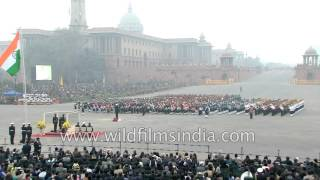 Military bands play National Anthem : Beating Retreat ceremony at Vijar Chowk, Delhi