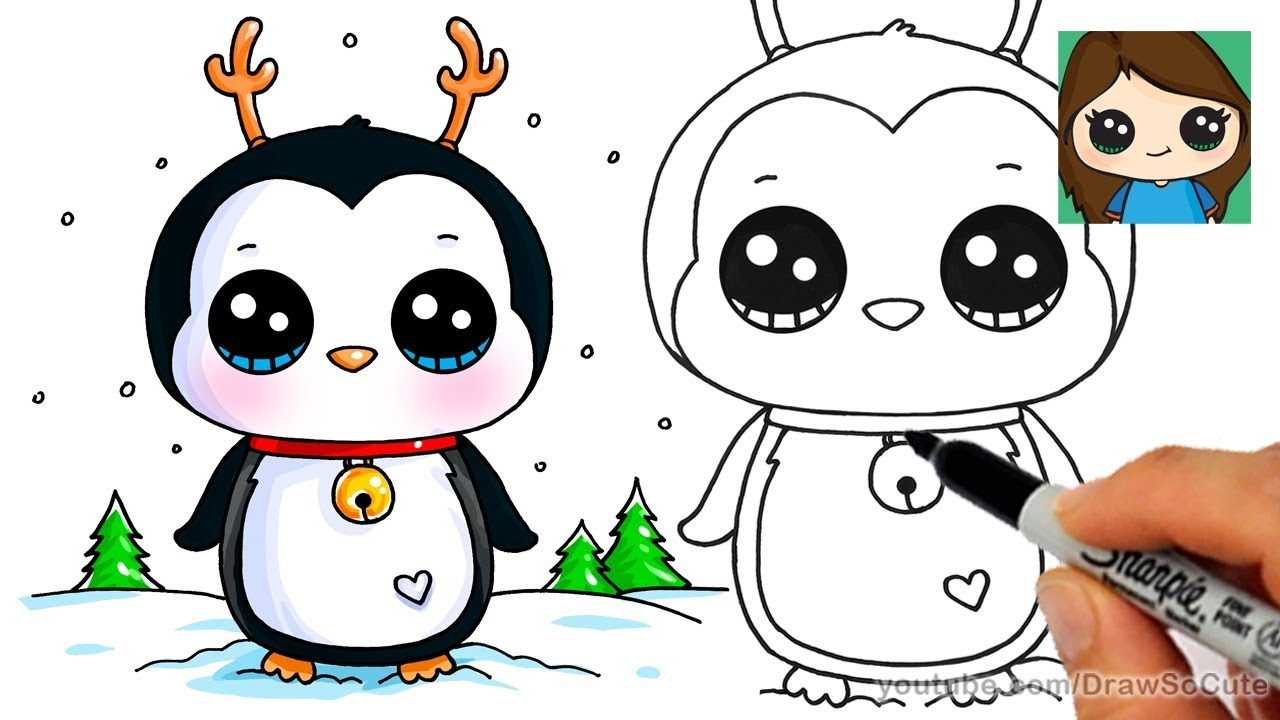How to Draw a Cute Penguin for Christmas Easy - YouTube