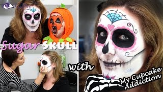 Sugar Skull Day of the Dead Halloween Makeup Tutorial by EyedolizeMakeup with MyCupcakeAddiction!!