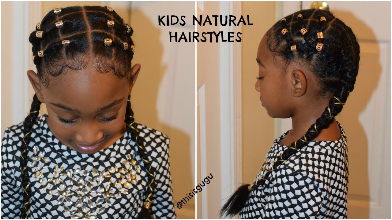 Kids Natural Hairstyle Alicia Keys Inspired Rubber Band Plaits