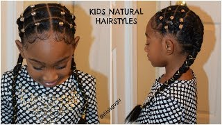 KIDS NATURAL HAIRSTYLE: Alicia Keys Inspired Rubber band Plaits/Cornrows Hairstyle For Little Girls