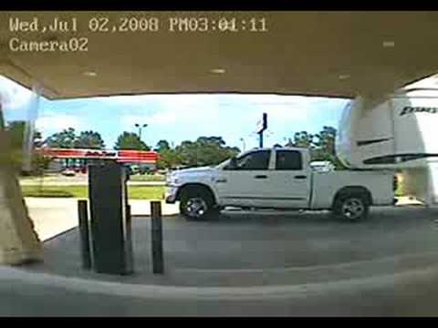 Dumb Blonde Takes Down Bank Roof With Trailer Youtube