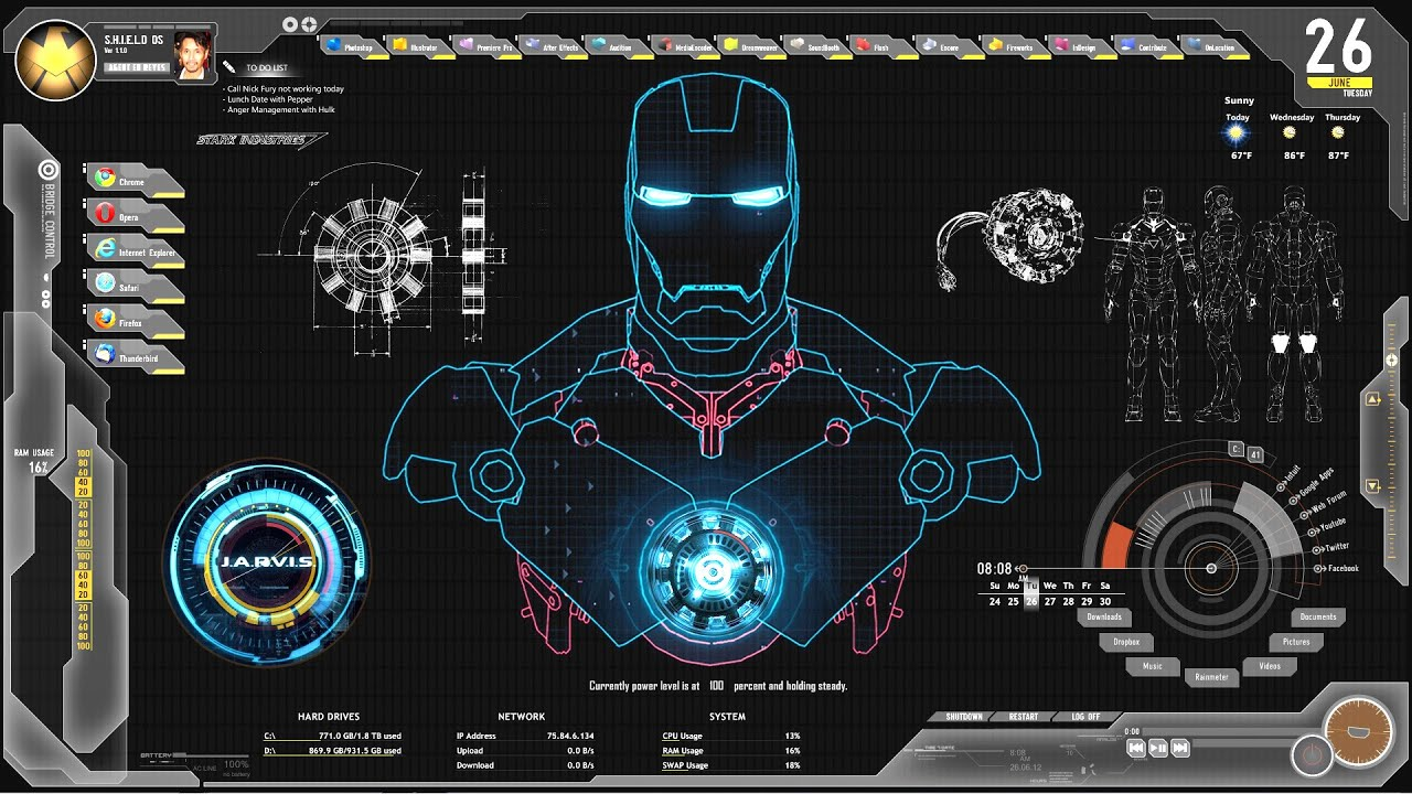 Hd wallpaper jarvis - Futuristic Avengers Jarvis Shield Theme And Skin For