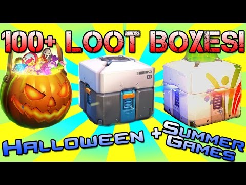 106 Stockpiled Loot Boxes!   Overwatch Loot Box Opening   Mix Of Halloween Summer Games And Normal