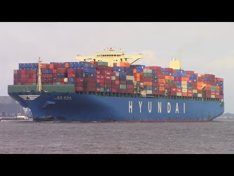 Container Ship HYUNDAI TOGETHER inbound into Hamburg, Germany on Elbe River (June 18, 2015)