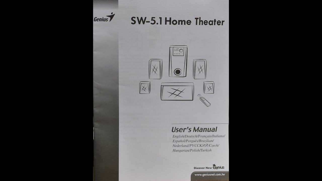 Genius Sw 5 1 Home Theatre Cinema - User U0026 39 S Guide