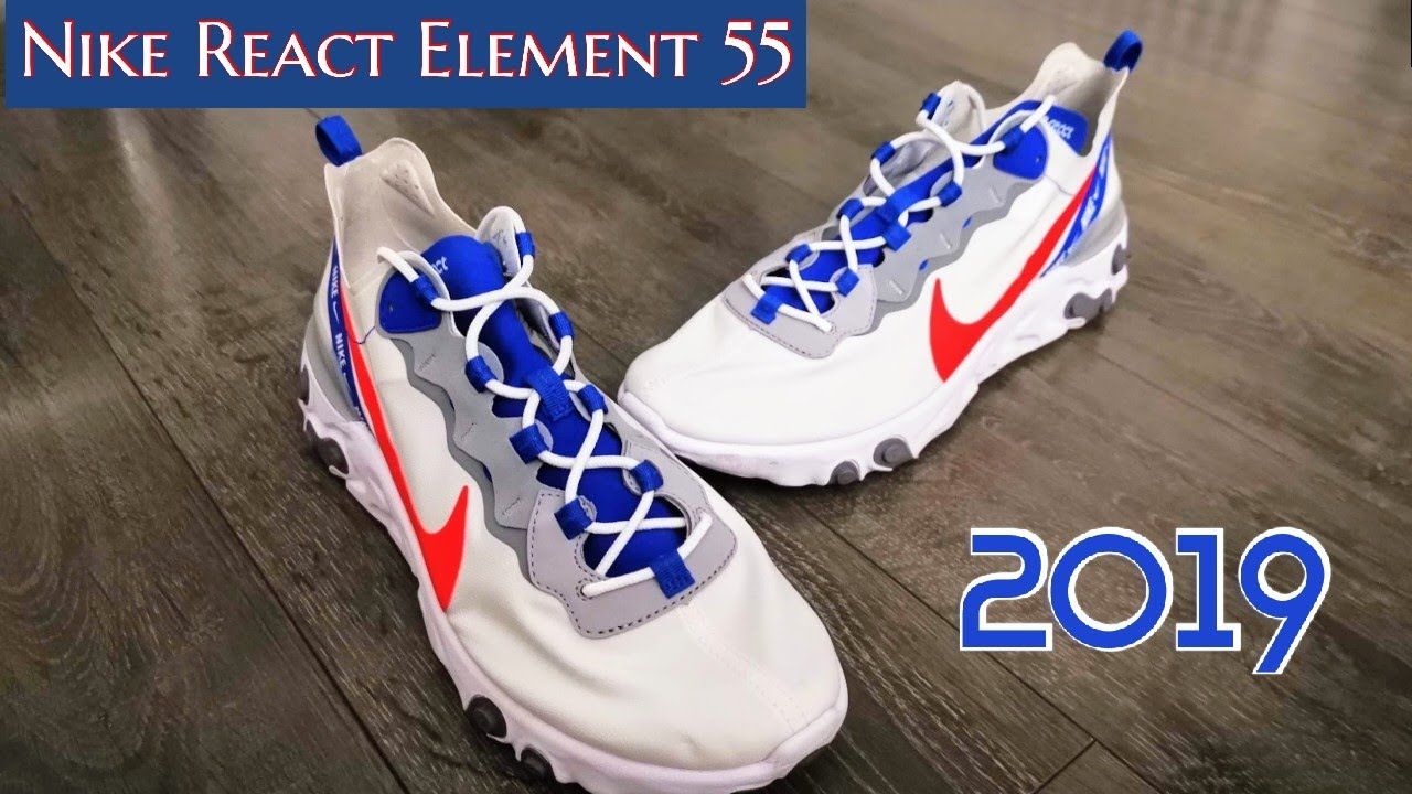 #New Nike React Element 55 ➡️ white habanero red game royal #Wow !!! On Feet & Impressions