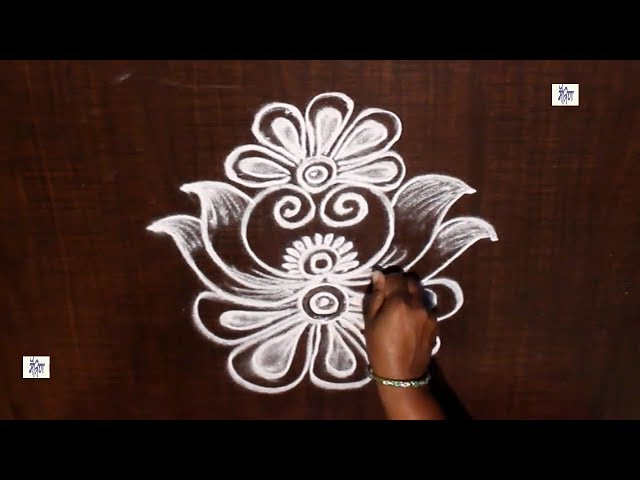 Very Creative & Simple Kolam /  rangoli Design without using Dots || maitrin 2018