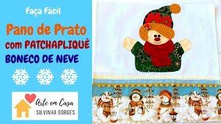 Faça um Pano de Prato com Patch apliquê de Boneco de Neve