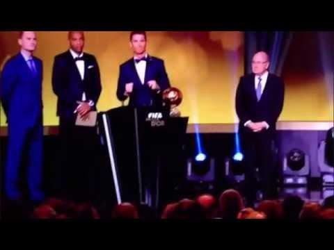 Christiano Ronaldo's Awkward Yell at FIFA Ballon D'Or 2014 HD
