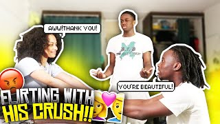 FLIRTING WITH MY FRIENDS CRUSH IN FRONT OF HIM PRANK!! *GONE WRONG*