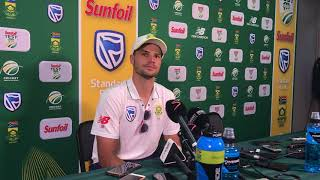 Aiden Markram addresses the media after day four