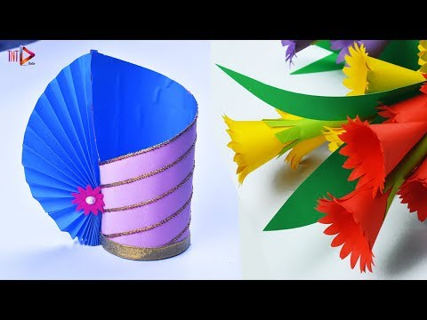 Making Paper Flower Vase Easy Idea | DIY Beautiful Paper Flower Pot At Home | Home Decor Paper Craft