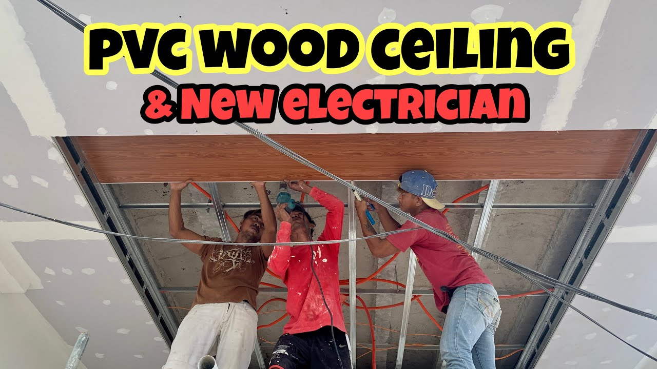 HOUSE BUILDING IN THE PHILIPPINES - EPISODE 159:  PVC WOOD CEILING I NEW ELECTRICIAN
