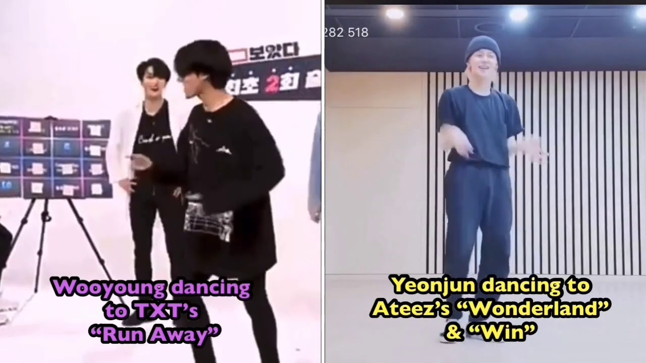TXT's Yeonjun /Soobin & Ateez's Wooyoung Dancing/Singing Each Other's Songs