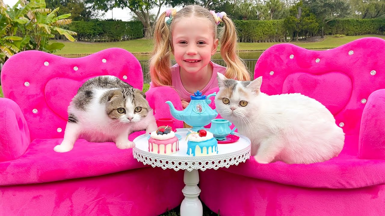 Nastya and a tea party for her kittens