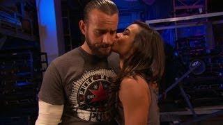AJ kisses CM Punk: Raw, June 11, 2012