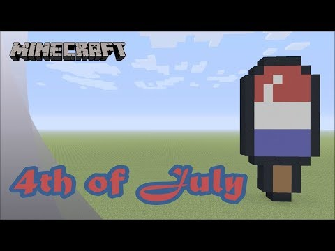 Minecraft: Pixel Art Tutorial and Showcase: Happy 4th of July Popsicle (Independence Day) thumbnail