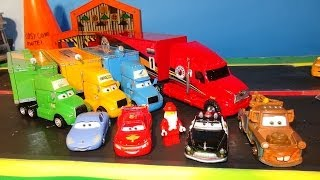 Pixar Cars and The Lego Movie People in Radiator Springs with Lightning McQueen, and the Lego People