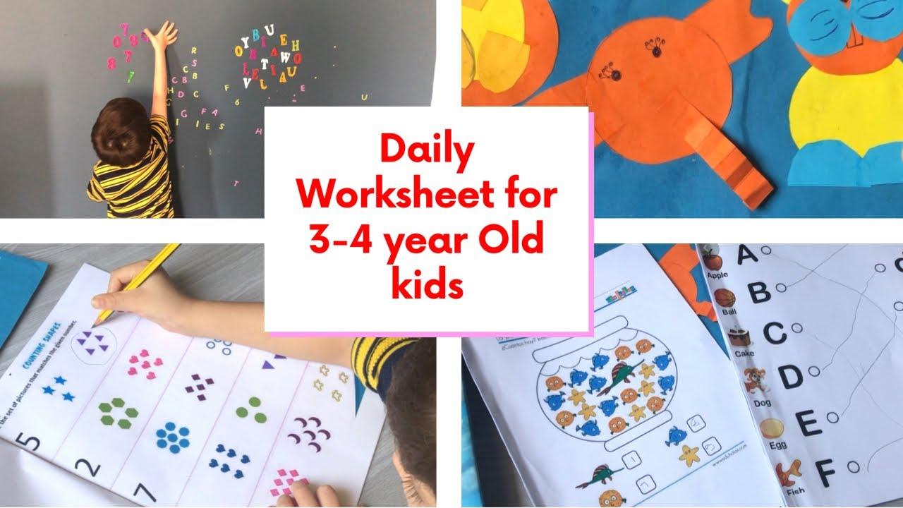 20 DIY Daily Practice Worksheets for 3 \u0026 4 Year Old Kids (Toddler [ 720 x 1280 Pixel ]