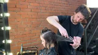 Женская стрижка на длинные волосы Каскад Как подстричь челку Максим Воробьев
