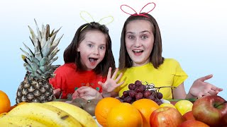 Liza and Dasha fun play with fruit | SKORIKI