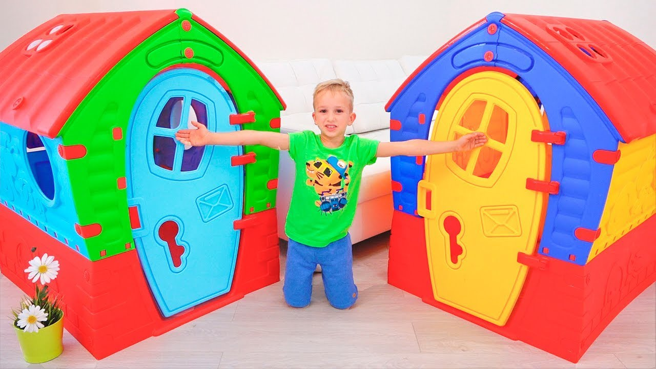 66916b68d7504 Vlad and Nikita build Playhouses for children - YouTube